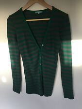 Victoria Woods Striped Green Gray Wool Long Cardigan Sweater Jumper M 10