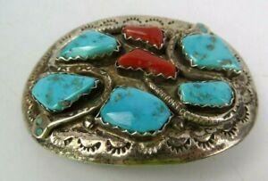 Effie C. Zuni Sterling Silver Snake Belt Buckle Red Coral Turquoise Belt Buckle