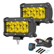 """2x 5"""" Led Work Light Offroad Pod Lights Amber Driving Fog Lamps + Wiring Harness"""