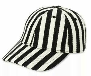 Time & Tru Cap Hat Black/White Stripe Herringbone Cap Arctic White Non Washed