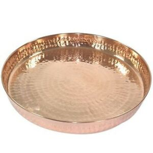 Copper Hammered Dinner THALI, Traditional Indian Style For Health Benefit