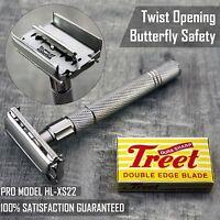 Haryali London Double Edge Safety Razor, Twist To Open Butterfly Design + Blades
