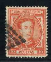 Sello España 1876 nº 182 Alfonso XII 10 pesetas bermellon vivo matasellado