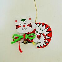Vintage Kurt Adler Cheshire Cat Wood Christmas Ornament White Red Green1986 Taiw