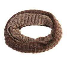 Graduating Beige Brown Knitted Chunky Tube Snood Loop Scarf Cowl Unisex Winter