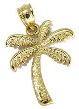 SOLID 14K YELLOW GOLD HAWAIIAN SCROLL PALM TREE CHARM PENDANT SMALL 14MM