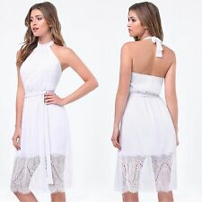 BEBE WHITE STEPHANIE LACE HEM HALTER DRESS NEW NWT $129 XSMALL XS