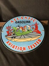 VINTAGE ATLANTIC AVIATION PORCELAIN SIGN GAS SERVICE STATION PUMP PLATE 63