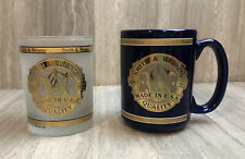Smith & Wesson Coffee Mug Whiskey Glass Lot 2 Cups Frosted Gold Gun Model 915 38