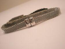 Swank Tie Bar Clip beautiful -Mesh Hoop Silver Tone Plain Vintage