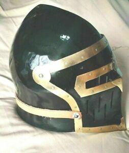 Black antique steel medieval helmet battle ready helmet