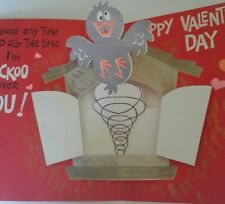 Vintage Jumbo Valentine's Day Card Birds 3D Pop-up1963