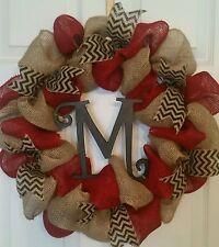 Red/ Natural  Burlap Wreath /Chevron-Personalized