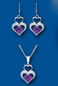 Amethyst and Diamond Heart Pendant and Drop Earrings Set Solid Sterling Silver
