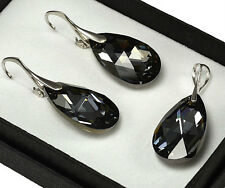 925 Silver Earrings/Set made with Swarovski Crystals - Silver Night 22mm PEAR