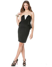 NWT $150 A Pea in the Pod Maternity Black White Strapless Jersey Peplum Dress M