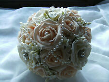 VINTAGE inspired brooch wedding bouquet ivory & apricot foam rose