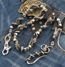 """DK Heavy Head Tail Dragon Trucker Biker Key Jean Wallet Chain (29"""") Silver NCS87"""