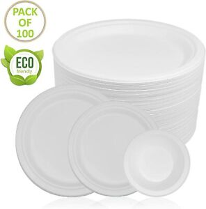 50/100/200 Super Rigid Extra Strong Disposable Party Paper Plates Biodegradable
