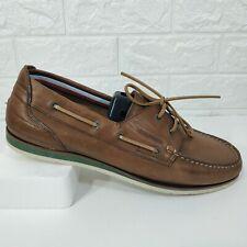 Tommy Hilfiger Brown Leather Flats Dress Shoes Loafers Moccasins Sz US 12 EU 46