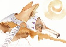 GREETING CARD spiritual art 'THE JESTER' coyote watercolor spirit totem