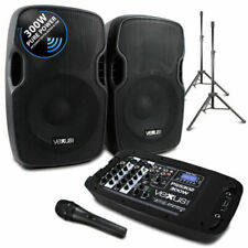 Portable PA Sound System Inc 4 Speakers Stands 48v Mixing Desk