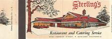 Sunland Ca Sterling's Restaurant and Catering Service Matchbook Cover