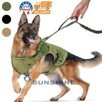 Military Adjustable Tactical Dog Harness Nylon Vest+Leash for Police K9 Training