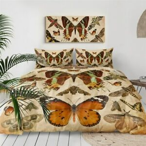Brown Moth Insect Butterfly King Queen Twin Quilt Duvet Pillow Cover Bed Set
