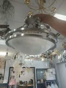 APOLLO Pendant Ceiling Light Fixture 2  lights chrome trim stoned glass (3BB)