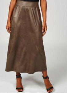 Kim & Co Brazil Jersey Pleather Skirt with Pockets Deep Taupe Size XS BNWOT NEW