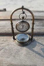 HANDMADE MARITIME COLLECTIBLE DESK DECOR TABLE CLOCK SOLID BRASS WATCH W/COMPASS