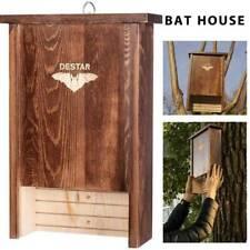 Destar Pine Wood Bat House Box Shelter Outdoor with Single Chamber & Metal Hook