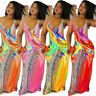 Women Sexy V Neck Sleeveless Summer Print Dress S-3XL Plus Size Party Long Dress