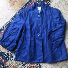 Elevenses Anthropologie Women's 3/4 Sleeve Peplum Cropped Blazer Jacket 4 Linen