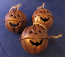 Halloween Primitive Rustic Style Pumpkin Jack-O-Lantern Jingle Bells - Set of 3