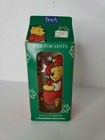 Christmas Disney Winnie The Pooh Glass Cup Clear Milk For Santa Piglet Holiday