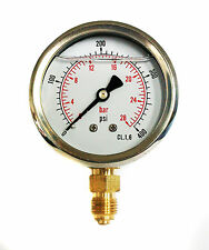 Hydraulic Pressure Gauge Glycerine Filled 0/400 PSI & 0/28 Bar 63mm Dial 1/4 BSP