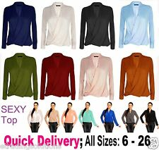 Womens Ladies Chiffon Long Sleeve Blouse V Neck T Shirt Wrap Front Work Top*WrkL