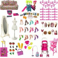 Barbie Doll Furniture Pretend Play Toy Shoes Bag Hangers Mirror Doll Accessories