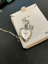 With Cross 16'' Msrp $100.00 Sterling Silver Heart Locket Necklace