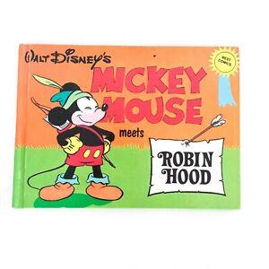 Vintage Walt Disney Mickey Mouse Meets Robin Hood 1980 Comic Book Hardcover