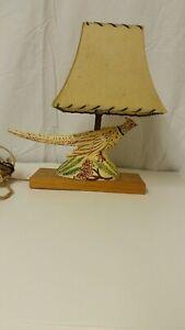 "Ceramic Lamp 10.5"" x 14"" Bird Pheasant Shade Table Lamp Gold RusticAdult Vintage"