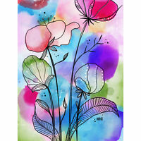Abstract Watercolour Meadow Flowers Painting Huge Wall Art Poster Print