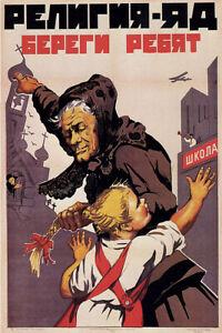 Religion is Poison! Vintage Russian Soviet WW2 Military Propaganda Poster