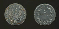 Greece. 5 Drachmas 1930 VF-XF LONDON, PHOENIX Laurel Branches, KM#71 Greek Coin