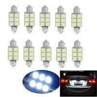 10pcs White 36MM 6-LED 5050 SMD Car Auto Festoon Interior Dome Light Lamp Bulb