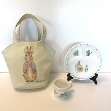 EDEN Peter Rabbit Child's Divided Plate and Cup Melamine + Canvas Tote Bag Purse