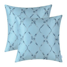 2Pcs Embroidered Light Blue Cushion Cover Pillow Cases Rings Waves Lines 45x45cm
