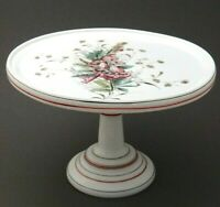 "Milk Glass Cake Stand 9""x6"", Fine Hand Painted Bell Flowers, Antique Unique"